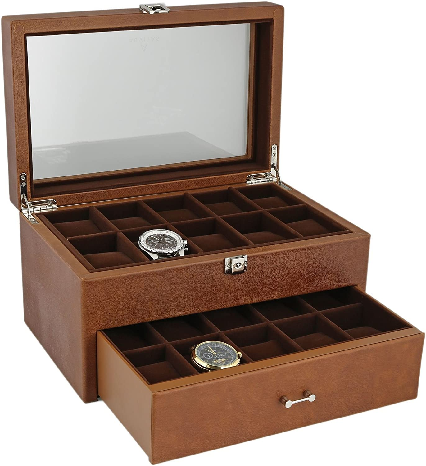 Black Genuine Leather Washington Mall Watch Collectors Box for with 20 Year-end gift Drawer Wr