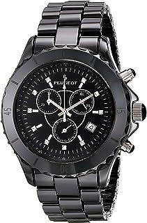 Peugeot Men's Swiss Chronograph Black Genuine Ceramic Crystal Marker Dress Watch PS968