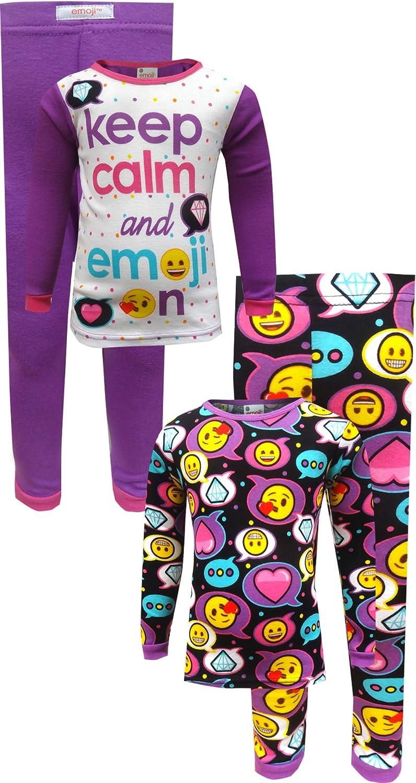 AME Sleepwear Girls' Keep Calm and Emoji On 4 Piece Pajama