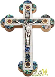 11 Inch Wooden Wall Hanging Catholic Crucifix Covered with Mother of Pearl - 4 Glasses Filled with Holy Relics from the Holy Land - Olive Wood Wall Cross for Home Décor