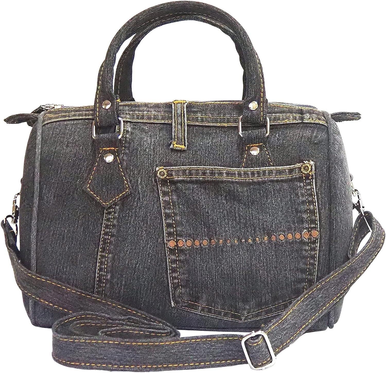 Classic Blue Denim Jean Doctor Style Women Top-Handle Shoulder Handbag Purse Limited Edition