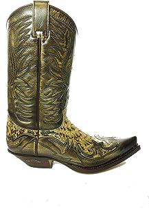 Sendra Boots Bottes de cowboy 3241 en cuir de serpent antique avec tire-bottes Roy Dunn, graisse et sac de transport Sendra
