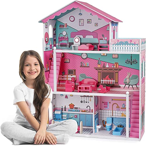 high quality ROBUD outlet online sale Wooden Dollhouse with Furniture wholesale Stairs Balcony 3-Storey 4-Rooms 3.8ft Tall Pretend Play Toy Dollhouse for Kids outlet sale
