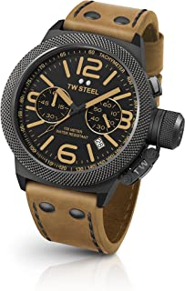 TW Steel Canteen Leather Unisex Quartz Watch with Black Dial Chronograph Display and Brown Leather Strap CS44