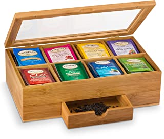 Bambusi Bamboo Tea Box Organizer - Natural Wood Teabag Holder Organizer - 8 Storage Compartment with Drawer - Great Christmas Gift Idea