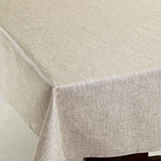 Amelie Michel Wipe-Clean French Tablecloth in Natural Linen   Authentic French Acrylic-Coated 100% Linen Fabric   Easy Care, Spill Proof [60