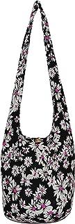 Black Flower Bohemian Hippie Hipster Hobo Boho Crossbody Shoulder Bag Daisy (Pink)