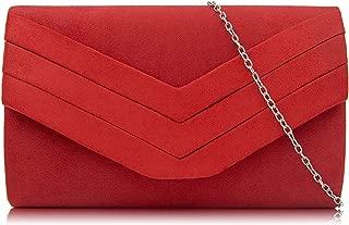 Evening Bag for Women, Suede Envelope Evening Purses Crossbody Shoulder Clutch Bag