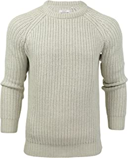 Mens Jumper fashion Chunky Fisherman Knit With Elbow Patches by Xact