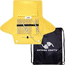 addi Knitting Needles Click Mixed Set Interchangeable System White-Bronze Finish Skacel Exclusive Blue Cords Bundle with 1 Artsiga Crafts Project Bag