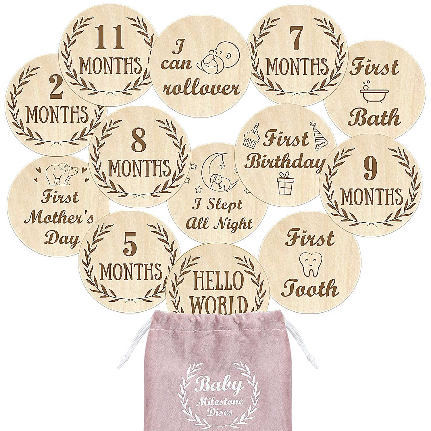 Baby Milestone Cards Selling rankings Wooden Monthly Popular popular and Doub First Infant