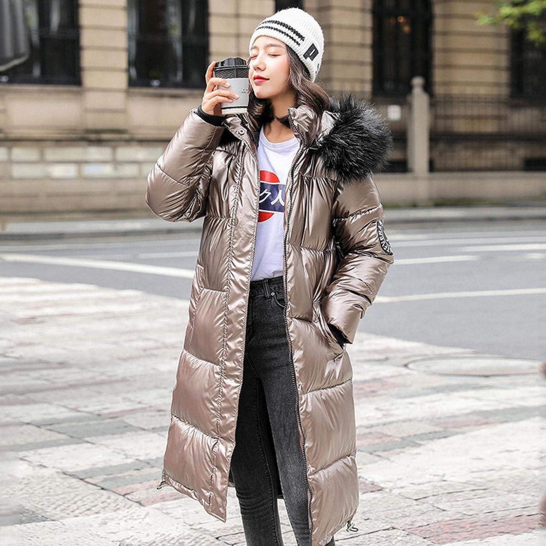 Winter Coat Warm Jacket, Winter Female Hooded, Women's Faux Fur Jacket, Women-Long Oversize Blue Down Jackets, Thick Casual with Epaulet L Champagne