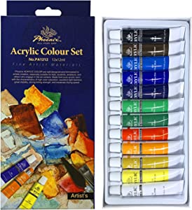 PHOENIX Acrylic Color Paint Set of 12 Tubes x 12 ml - Non-Toxic Paints for Kids, Students, Beginners & Artists