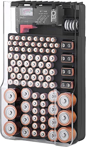 Battery Storage Organizer and Case, The Battery Organizer Hinged Clear Cover with Locking Lid, Holds 93 Batteries of ...