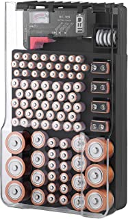 The Battery Organizer TBO1531 The Batt Storage Case with Hinged Clear Cover, Includes a Removable Tester, Holds 93 Batteri...