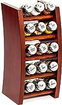 Portaspezie barattoli di Vetro 16II Silver Line Naturale Argento Lucido Rastrelliera Girevole per Le spezie e per l/'Erbe Legno Gald