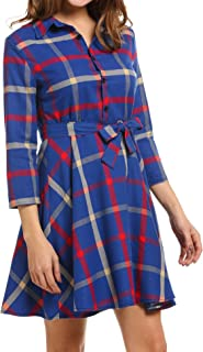 Sexyfree Women Lapel 3/4 Sleeve Plaid Belted Casual A-line Swing Shirt Dress