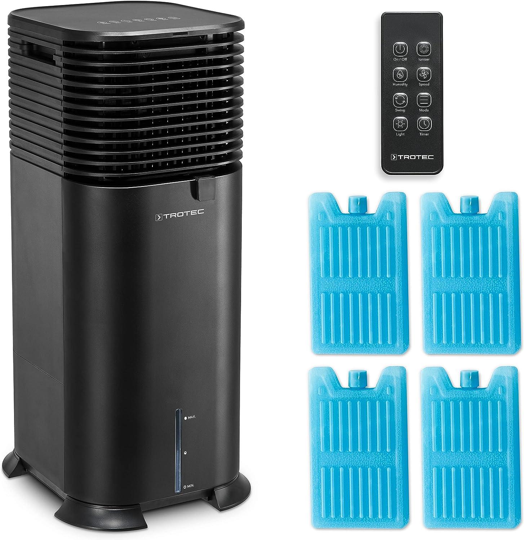 TROTEC Climatizador Air Cooler PAE 50, Climatizador Evaporativo 4 en 1, Enfriador de Aire, Ventilador, Purificador, Humidificador, 750 m³/h, Capacidad:20 L, incluido 4 Enfriadores de hielo