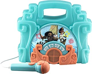 eKids Moana Sing Along Boombox with Microphone Built in Music Flashing Lights Real Working Mic Connects to MP3 Party Away