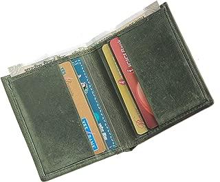 Husk N Hoof Leather Bi-Fold Credit Card Case Hunter Green-Slim Minimalist Leather Wallets for Men Women