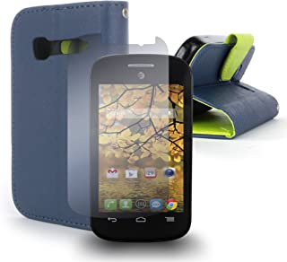 Alcatel One Touch Pop C1 Case, CoverON [Carryall Series] Protective Wallet Pouch Flip Stand Design Phone Cover Case for Alcatel One Touch Pop C1 - Navy Blue & Neon Green