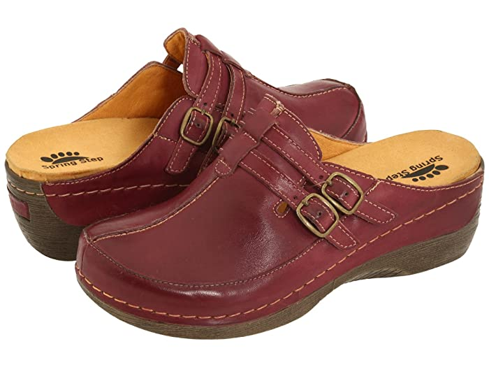 Retro Vintage Flats and Low Heel Shoes Spring Step Happy Bordeaux Womens ClogMule Shoes $79.95 AT vintagedancer.com