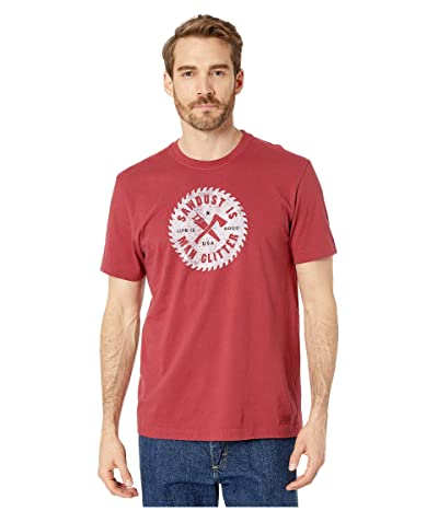 Life is Good Sawdust is The Man Glitter Crushertm Tee (Cranberry Red) Men