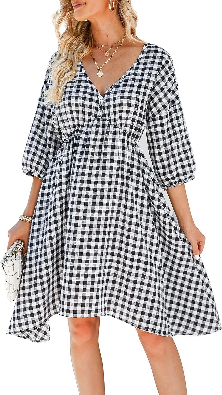 Amoretu Women's Casual V Neck Plaid Dresses Half Sleeve Swing A Line Sun Dress