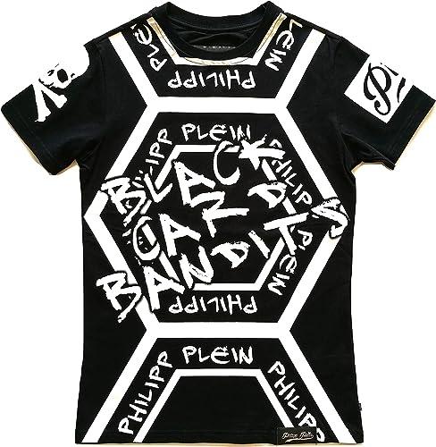 Philipp Plein T-Shirt Homme Manches Courtes noir voitured S17CMTK0089PJY002N Noir