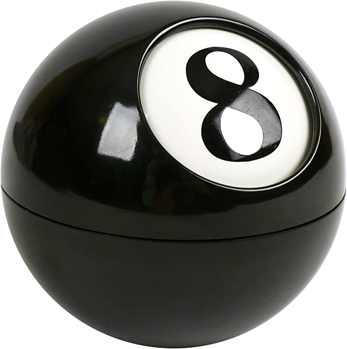 Posacenere palla da biliardo, nero, 9x9x9 cm pusher otto PU46