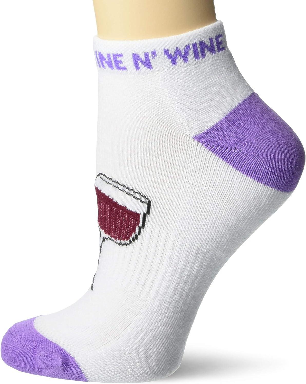 K. Bell Women's Food & Drink Novelty No Show Socks, Nine N' Wine (White), Shoe Size: 4-10