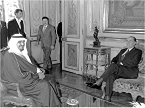 Vintage photo of Crown Prince Fahd of Saudi Arabia together with France's President Fran231;ois Mitterrand during the Paris visit