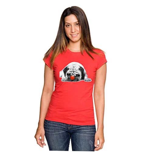 4d6fb631389 RED NOSE DAY COMIC RELIEF CHARITY RED PUG LIFE DOG ladies fitted T-SHIRT