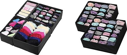 popular Simple high quality Houseware outlet sale Closet 4 Set Underwear Drawer Divider + 24 Cell Socks Drawer Divider, Black online