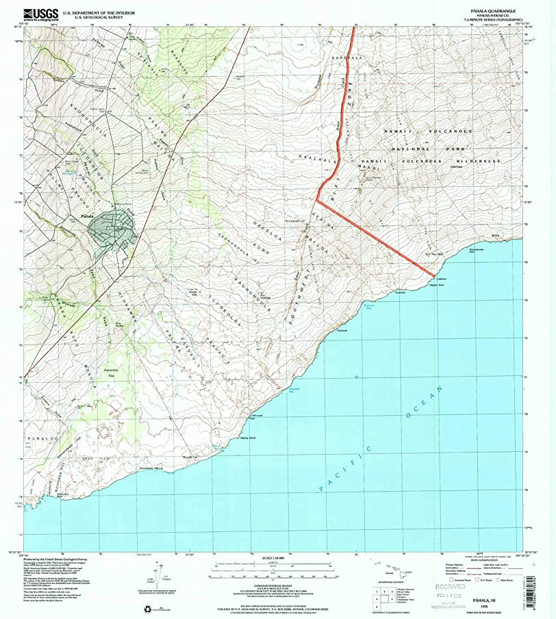 YellowMaps Pahala HI topo map, 1:24000 Scale, 7.5 X 7.5 Minute, Historical, 1995, Updated 2000, 26.7 x 24 in
