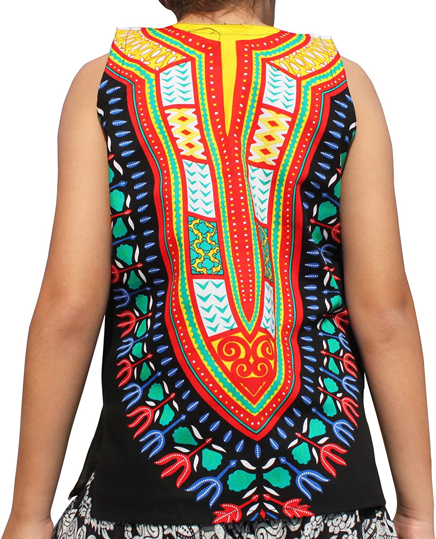 RaanPahMuang Brand Dashiki Childrens Cotton Summer Vest Shirt in Black Tones
