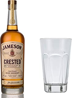 Jameson Crested Ten Blended Irish Whisky Set mit Tall Glas, Whiskey, Schnaps, Spirituose, Alkohol, Flasche, 40 %, 700 ml