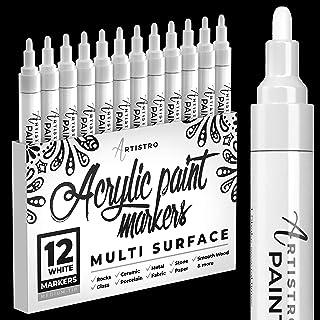Marqueurs blanc pour peinture sur cailloux, pierre, céramique, verre, bois. Lot de 12 marqueurs peinture acrylique pointe ...