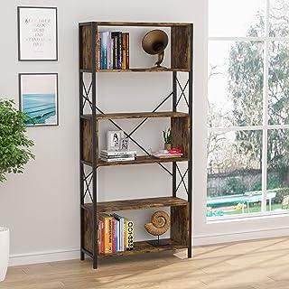 AOUSTHOP 5 Tier Bookshelf, Modern Industrial Bookcase...