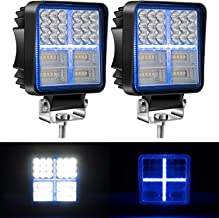Yorkim Offroad 4x4 Led Fog Lights Blue & White Combo Cross-Shape with Flash Strobe, Offroad Led Pod Light Cube, Offroad Led Flood Lights, 4x4 Led Spot Lights For Truck Jeep SUV