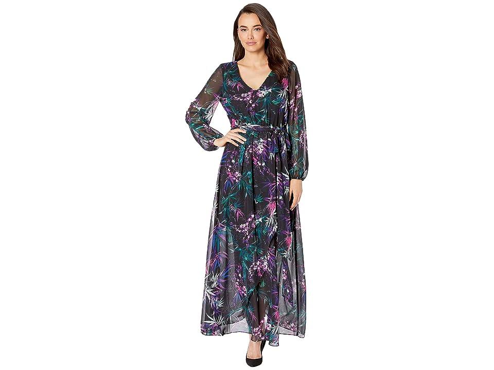 Nine West Printed HMC Long Sleeve Faux Wrap Maxi (Black/Flamenco Multi) Women