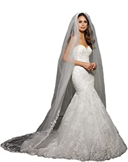 2M/3M/4M 1Tier cathedral veils ivory Wedding Bridal Veil with Lace bridal Veil Rhinestones VL1054
