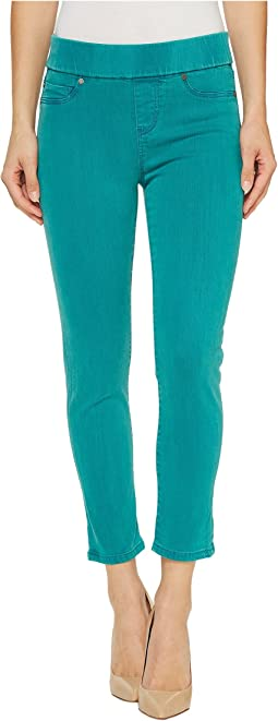Sienna Pull-On Rolled-Cuff Capris in Pigment Dyed Slub Stretch Twill in Fanfare Blue