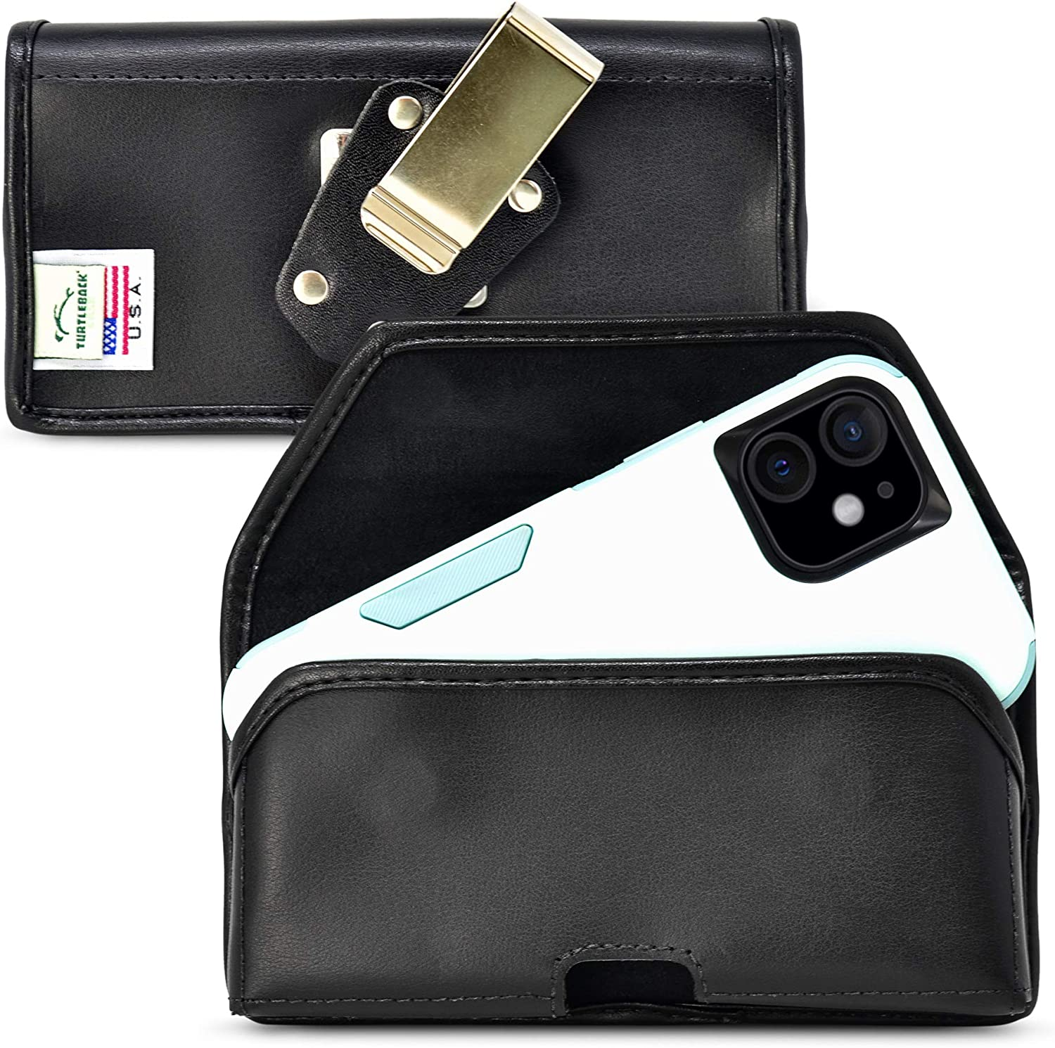 Turtleback Belt Case Designed for iPhone 13 & 13 Pro / 12 & Pro Compatible with Shockproof OB Commuter, Black Leather Holster Pouch with Heavy Duty Rotating Belt Clip, Horizontal Made in USA