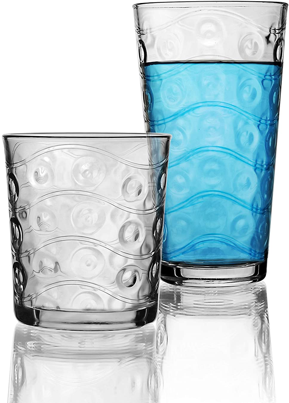 Circleware 40179 Cosmo 16-Piece Set, Drinking Glasses & Whiskey Cups Glassware for Water, Beer, Juice, Ice Tea, Beverage, 8-15.7 oz & 8-12.5 oz, 16pc