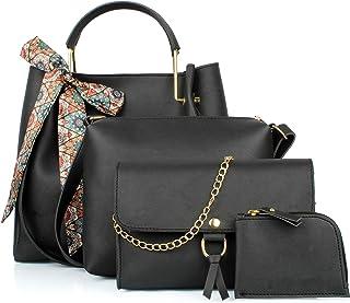 Mammon Women's Black PU Leather Handbag Combo (4ribn-black-tie)