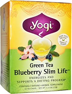 Yogi Tea Green Tea, Blueberry Slim Life 16 Bags (Pack of 3)