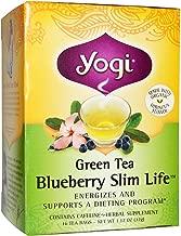Yogi Tea Green Tea, Blueberry Slim Life 16 Bags (Pack of 3)