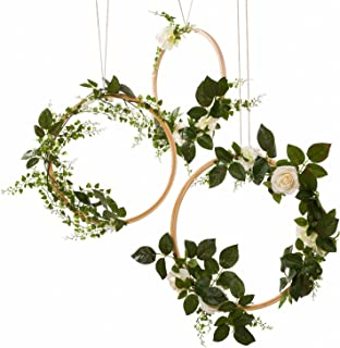 Ling's moment Greenery Wedding Handcrafted Vine Wreaths Set of 3, Christmas Decor Rustic Wedding Backdrop, Artificial Roses Plant Flower Garland, Woodland Wedding Decoration Floral Hoop