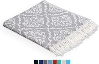 Valorosa (Pack of 4) Turkish Peshtemal Hand Towels 23x39 100% Cotton Towel Set Double Weave Damask Pattern - Multipurpose use for Hand, Face, Hair, Bath, Guest, Kitchen, Gym, Spa (Grey)